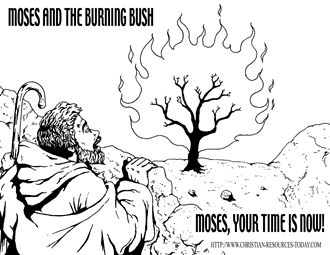 Coloring Sheets About Moses And The Burning Bush Coloring Pages