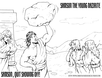 Bible Coloring Pages Samson Bible