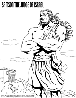 Bible Coloring Pages on Bible Coloring Page Samson Thejudge